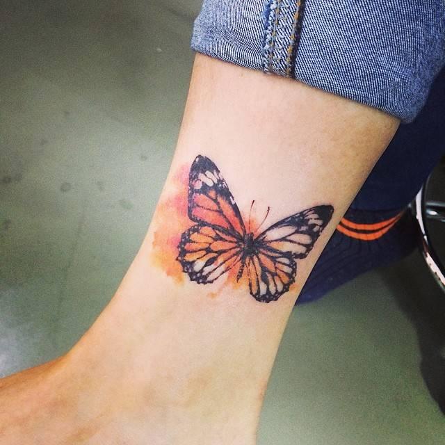 Butterfly Ankle Bracelet Tattoo