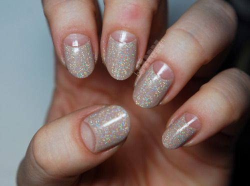 Light Gray And Copper Glitter Nail Art Design Create Half Moon Of