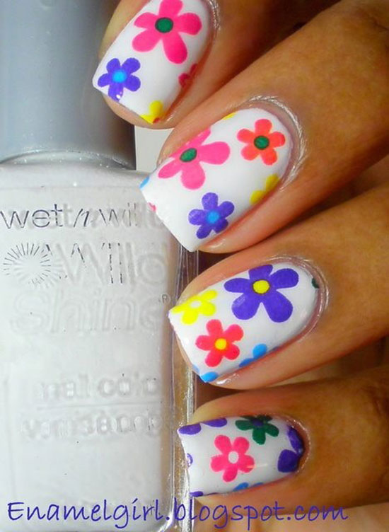Multicolored Spring Flowers Nail Art Idea