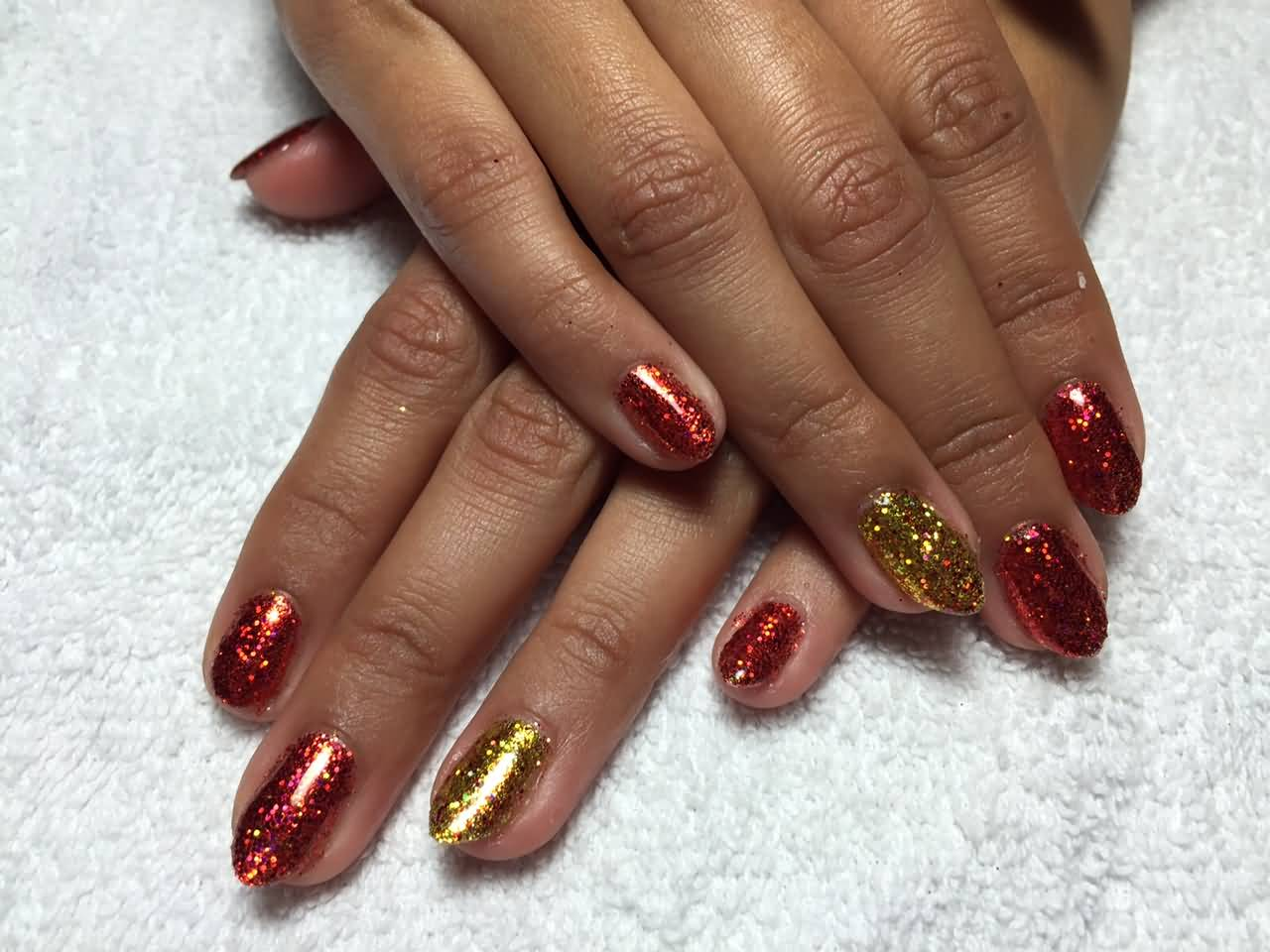 Red And Gold Glitter Gel Nail Art