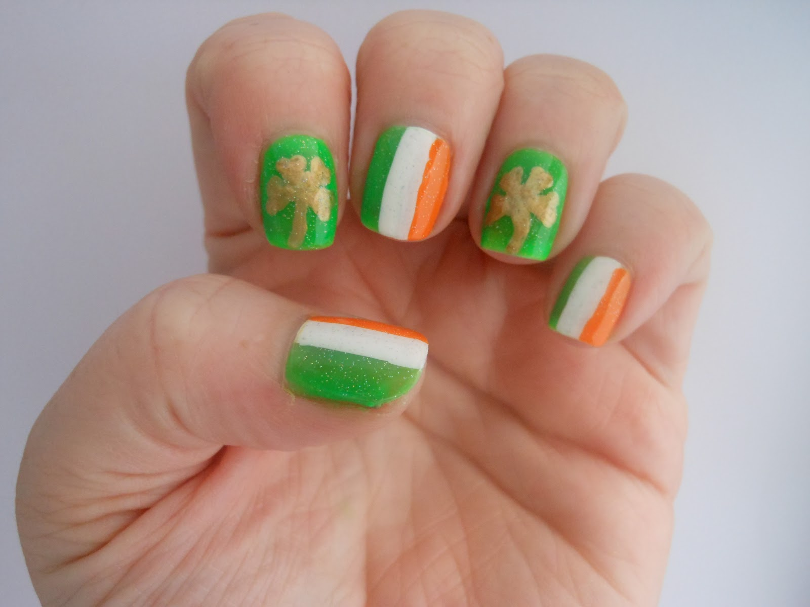 25 Amazing Saint Patricks Day Nail Art Designs Tri Color Irish Flag And Golden Shamrock Leaf