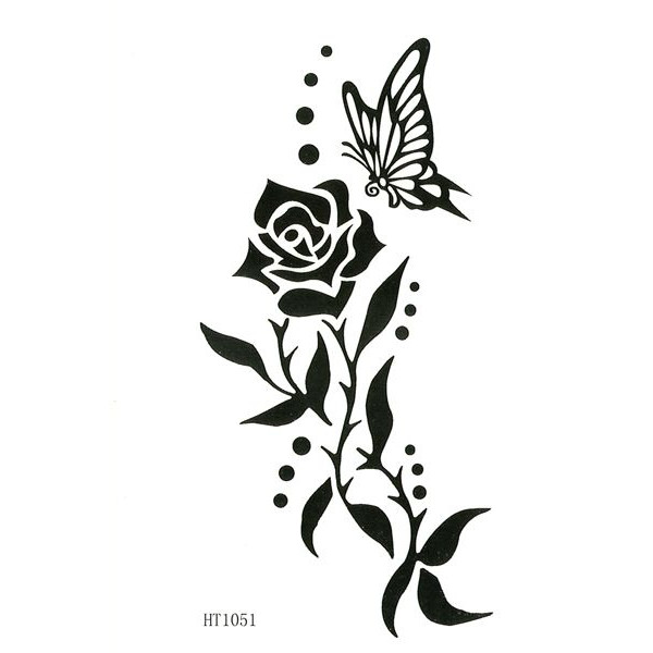 Black And White Butterfly On Back Tattoos For Women