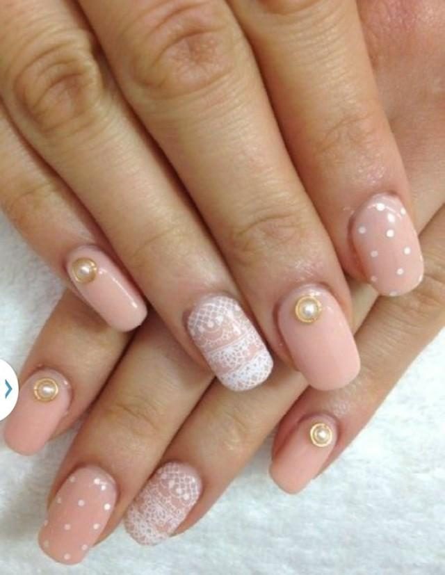 White Lace And Pearls Design Nail Art