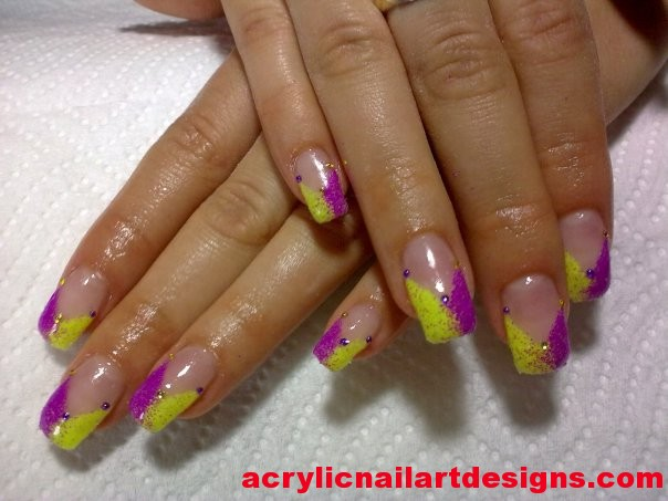 Yellow And Pink Neon Gel Nail Art