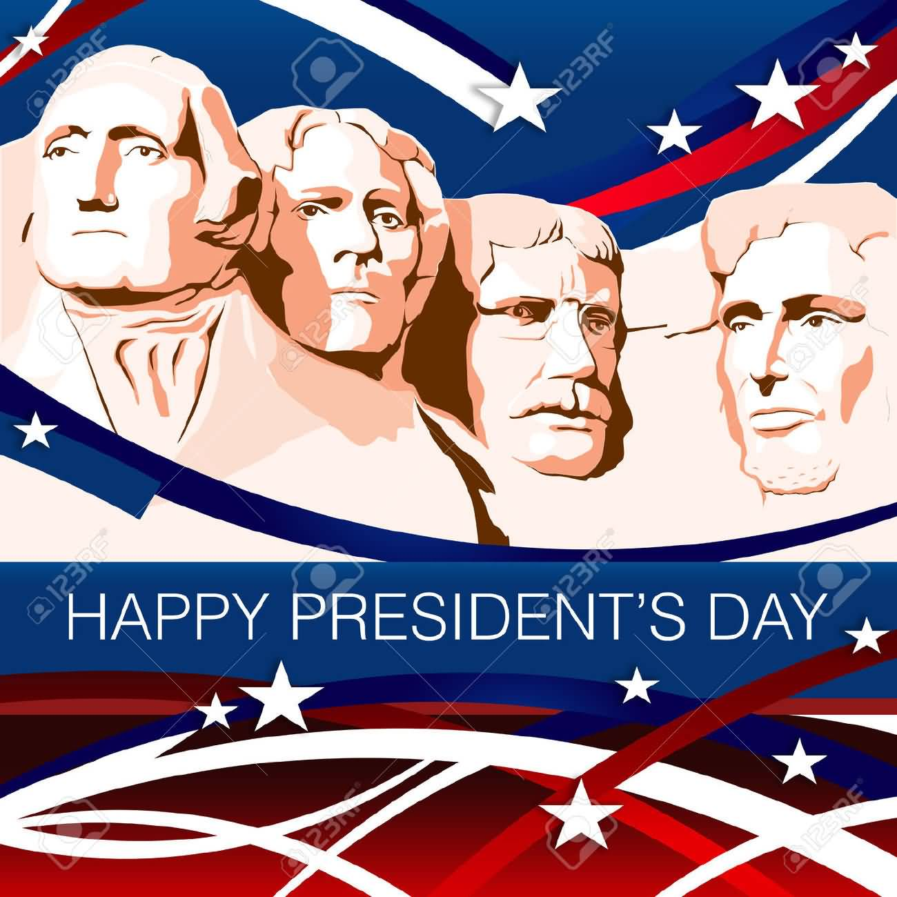 Happy Presidents Day Mount Rushmore Illustration