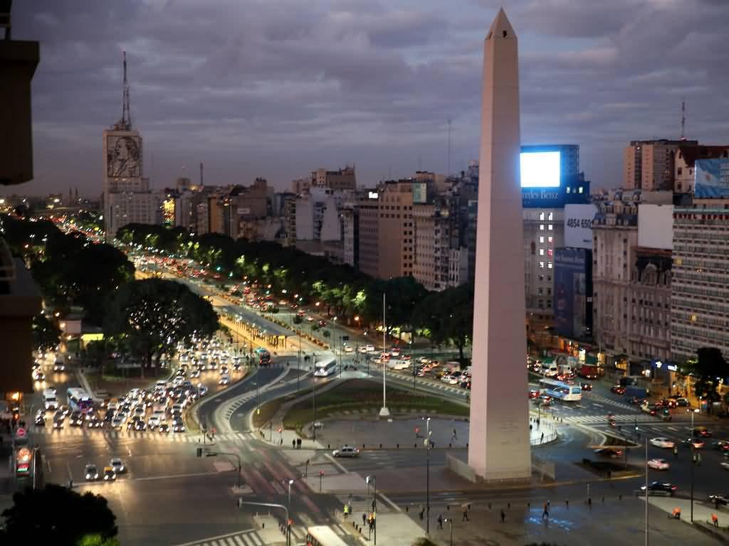 Obelisco De Buenos Aires After Sunset