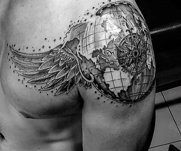Globe With Angel Wings Tattoo On Mens Shoulder And Chest