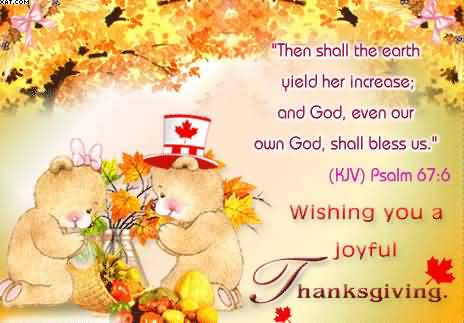 Wishing You A Joyful Happy Thanksgiving Cute Teddy Card