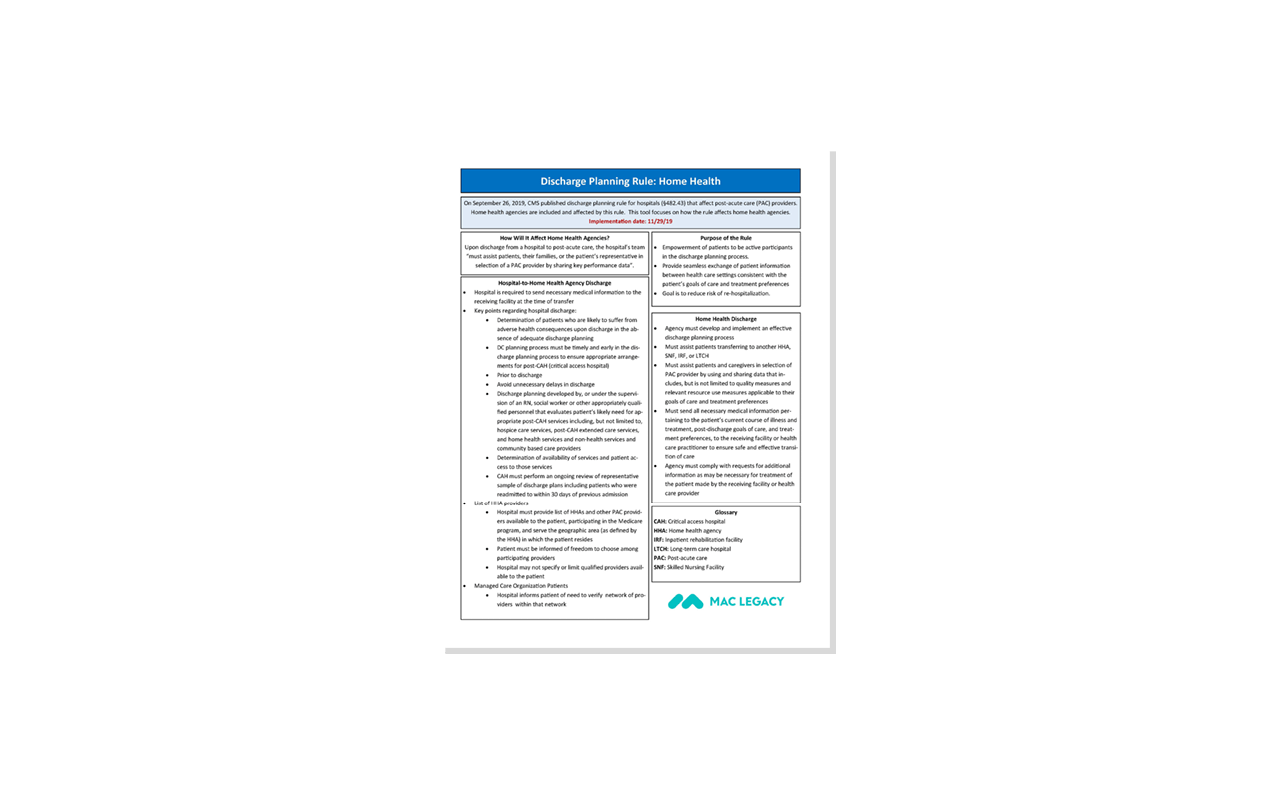 Mac Legacy Formerly Fms Discharge Planning Rule Home Health