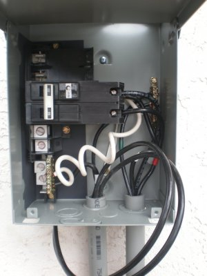Connections for Midwest Electric 60A GFCI Spa Disconnect Panel