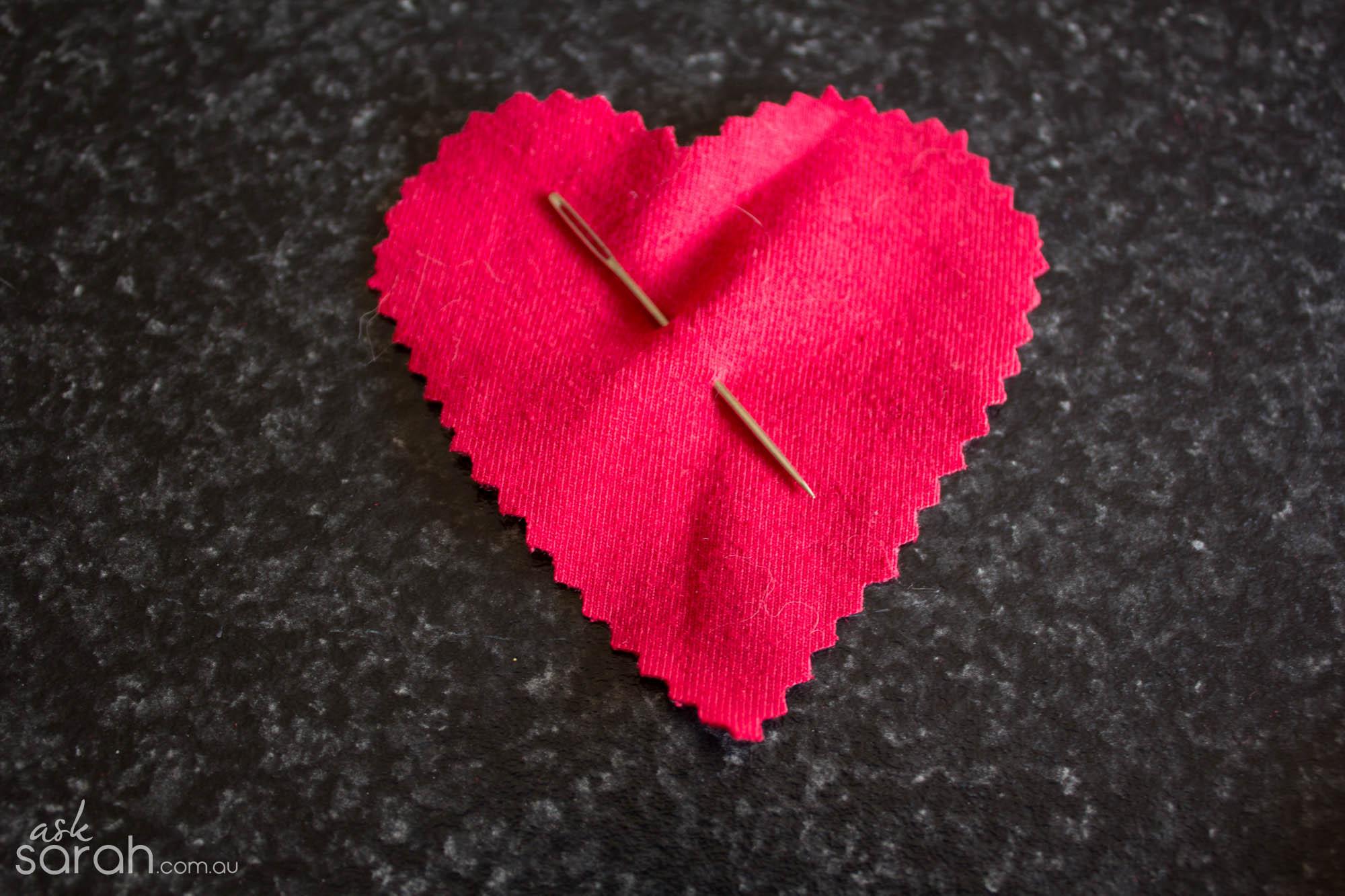 DIY: I Heart Sewing {Halloween Fabric Heart Body Patch w Needle, Thread & Fake Blood}