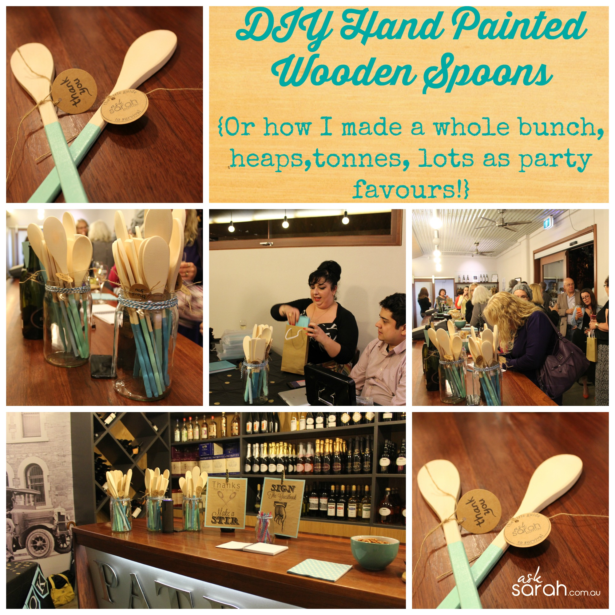 DIY Hand Painted Wooden Spoons {Or how I made a whole bunch, heaps, tonnes, lots as party favours!}