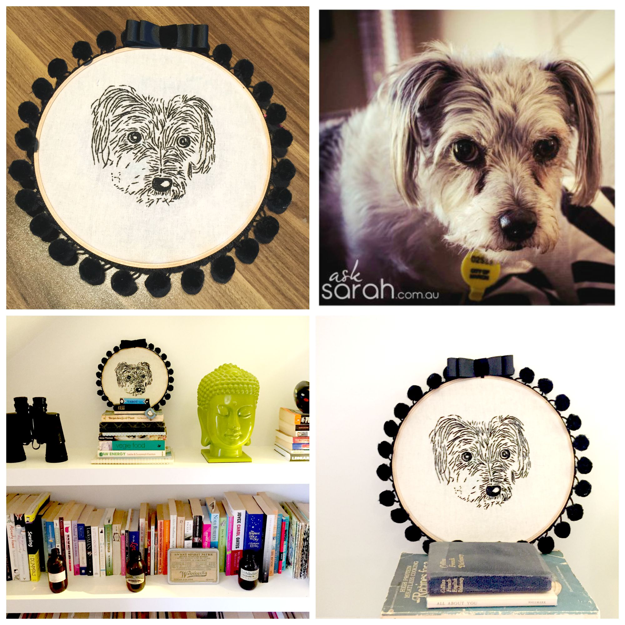 Sew: Fang Embroidery {DIY Stitched Dog Portrait with Mini Hoop Finishing Tutorial}