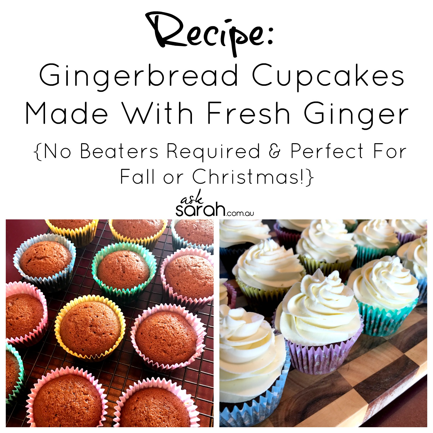 Recipe: Gingerbread Cupcakes Made With Fresh Ginger {No Beaters Required & Perfect For Fall or Christmas!}