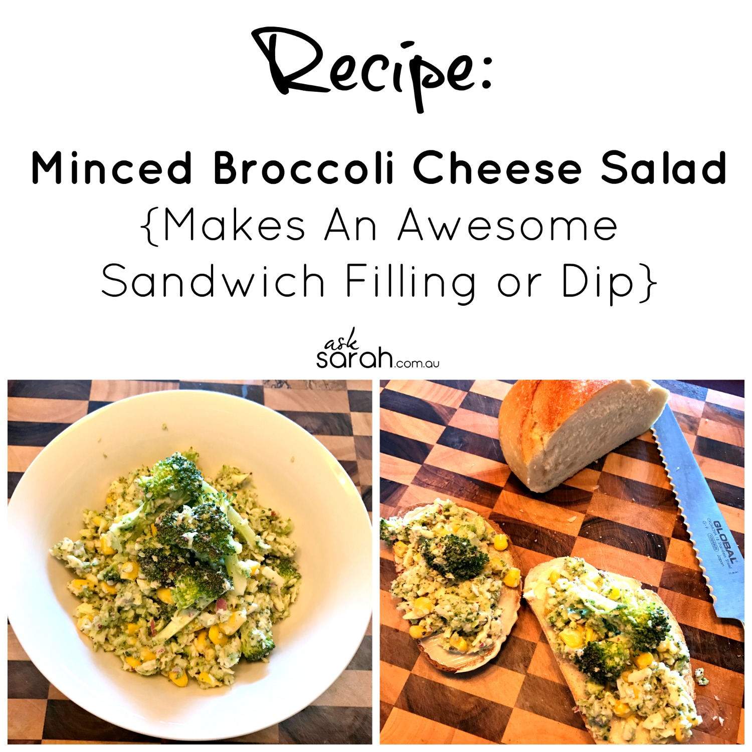 Recipe: Minced Broccoli Cheese Salad {Makes An Awesome Sandwich Filling or Dip}