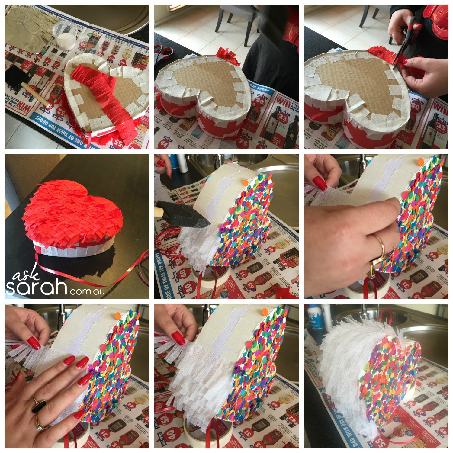 Make DIY Heart Shaped Pull Piñata Tutorial {Happy Valentines!} - Fringe