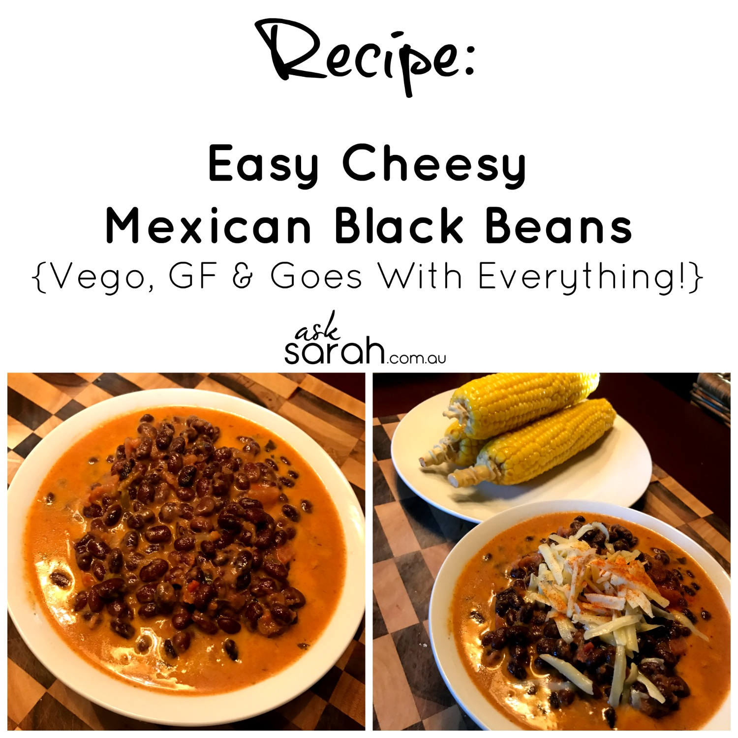 Recipe Easy Cheesy Mexican Black Beans {Vego, GF & Goes With Everything!}