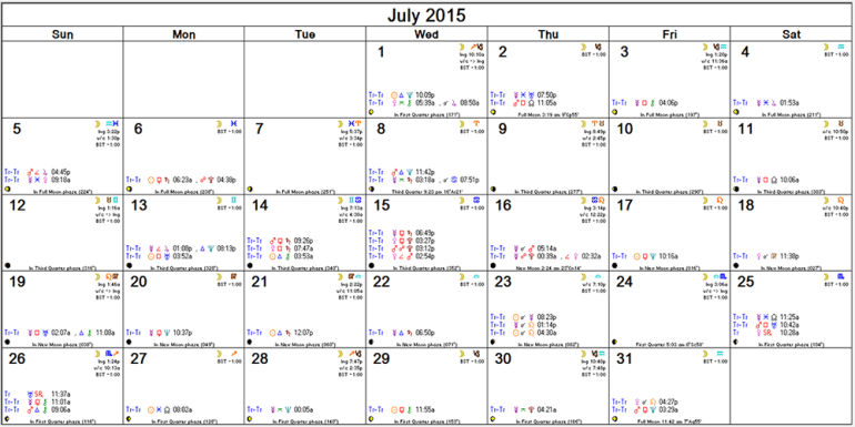 July monthly calendar