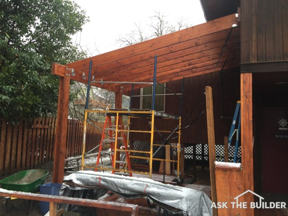 This fancy framing will soon have a metal roof over it. The detailing of what goes under the metal roof is important. Photo Credit: Mitch Bender