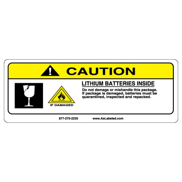 Caution Lithium Batteries Inside Label