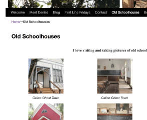 Showing what Image Caption looks like with my one-room old schoolhouse page on Denise M. Colby's Website