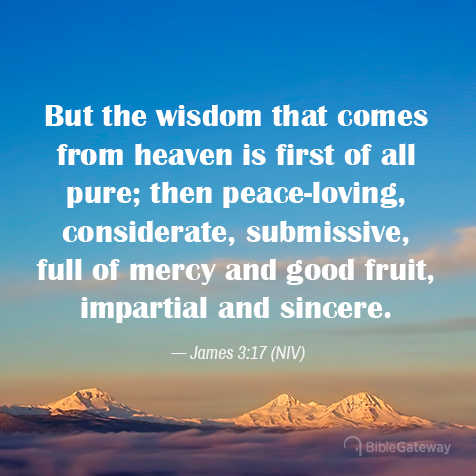 James 3:17 NIV verse with wisdom in it - focus word, word of the year, by Denise M. Colby