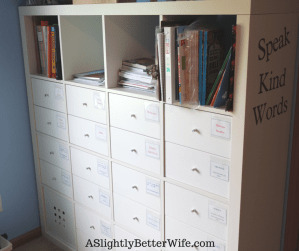 Create Homeschool Workboxes with an IKEA Kallax Bookshelf