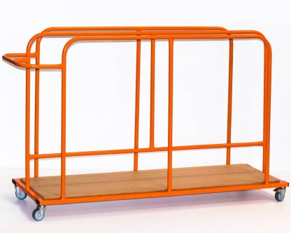 A steel trolley with wooden base, made for holding and transporting gymnastic safety mats vertically. pictured in orange