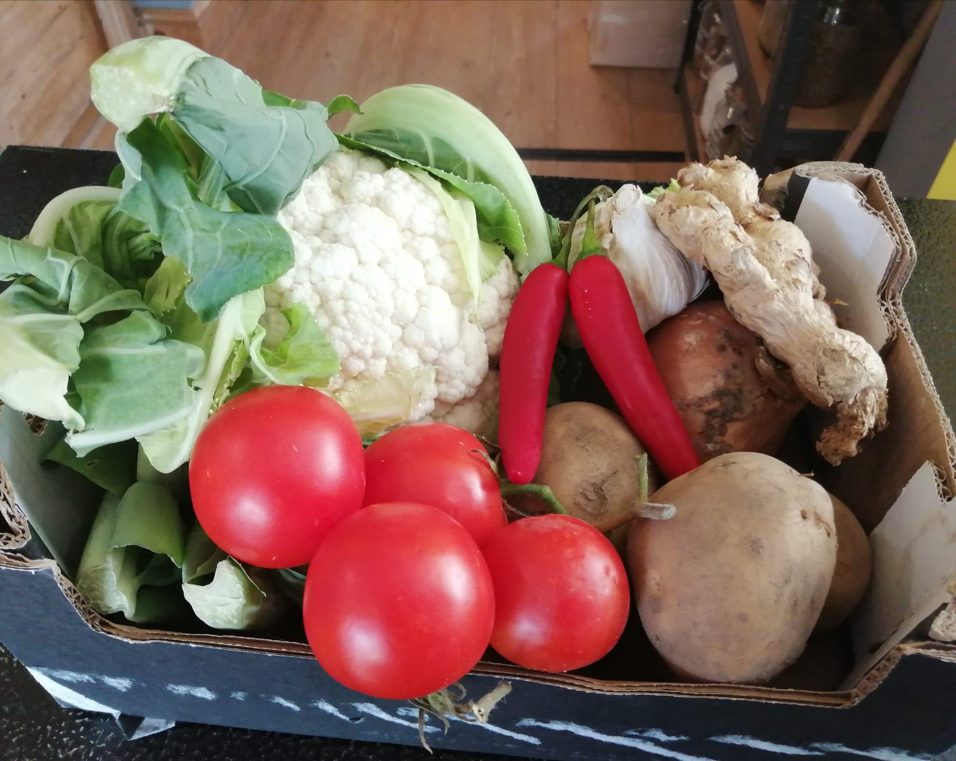 box of ingredients for aloo gobi