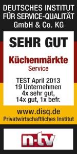 Auszeichnung SEHR GUT vom Deutschen Institut für Servicequalität im April 2013 in Zusammenarbeit mit dem Nachrichtensender n-tv