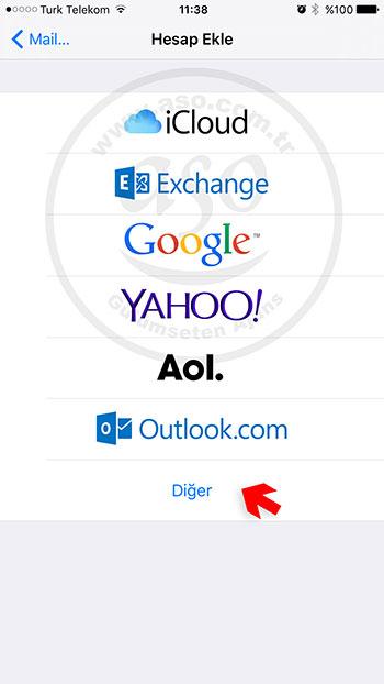 iphone da şirket maili açmak