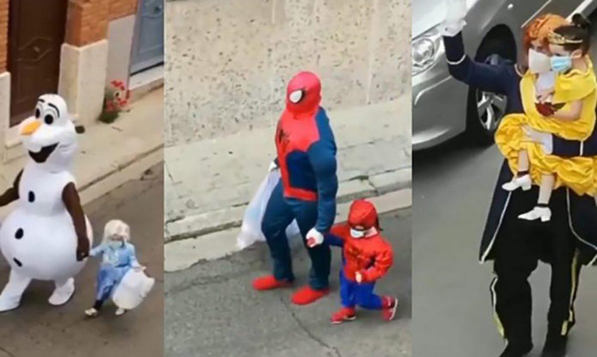 Todos os dias, esse pai e sua filha saem fantasiados (mas protegidos) para levar o lixo