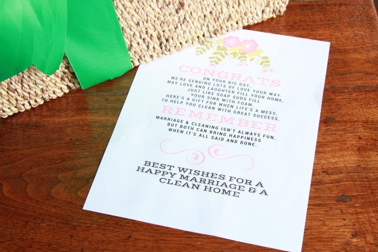 wedding gift basket printable
