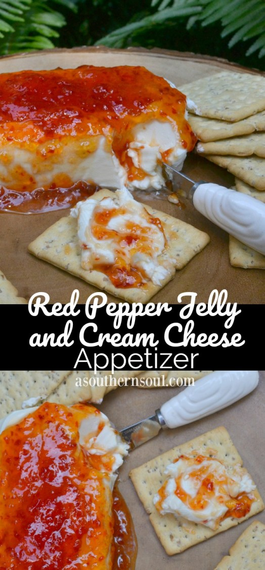 red pepper jelly and cream cheese appetizer with crackers