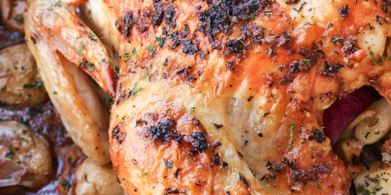 Herb Butter Roast Chicken with Potatoes