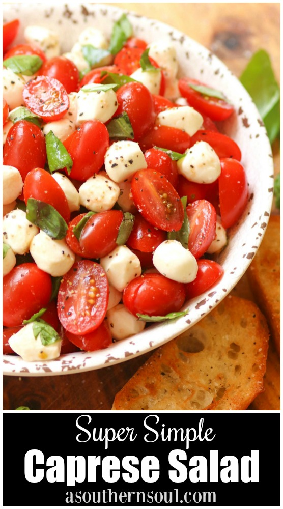 Garden fresh tomatoes and herbs tossed with mozzarella, along with basil in a two ingredient dressing of olive oil and balsamic vinegar might just be the most simple, most delicious salad ever!