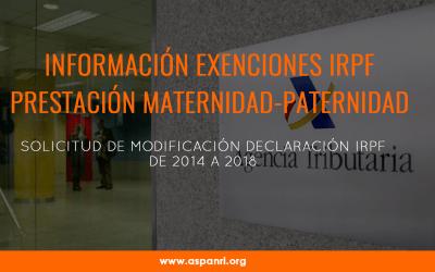Información exenciones en IRPF prestaciones maternidad y paternidad