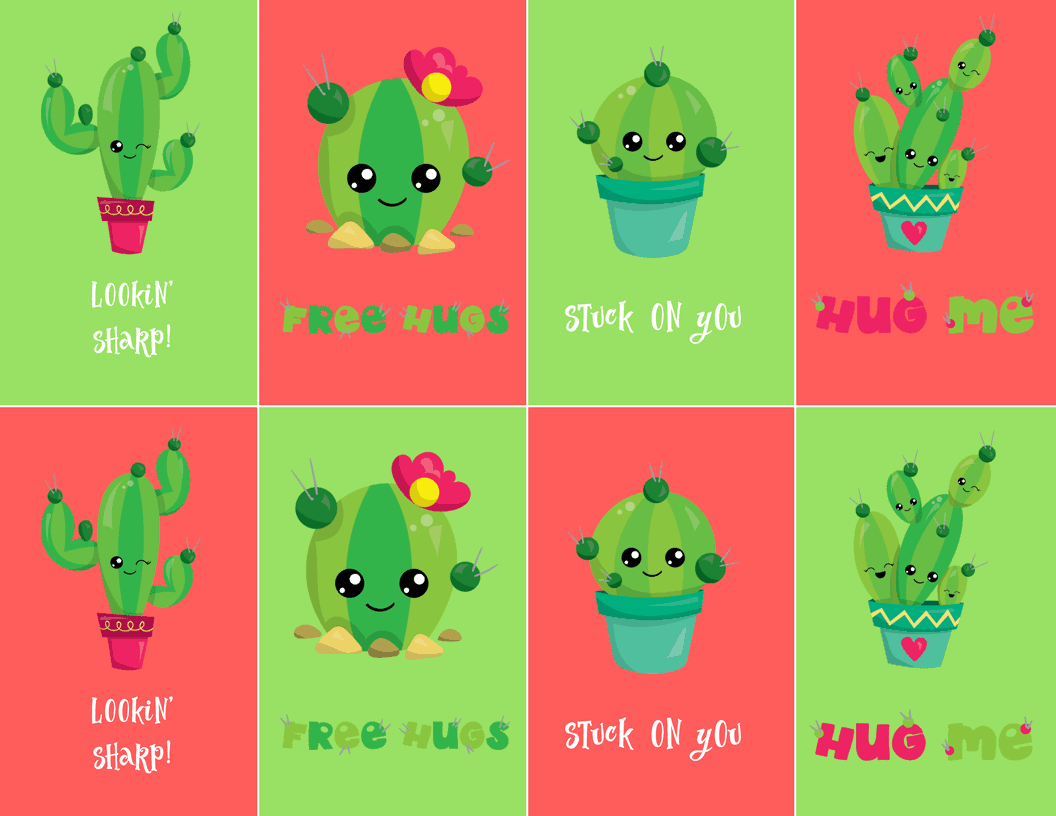 Stuck On You Free Valentines Cactus Printable Free Cactus Printable
