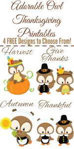 Adorable Owl Thanksgiving Printables