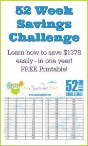 52 Week Savings Challenge with Free Printables