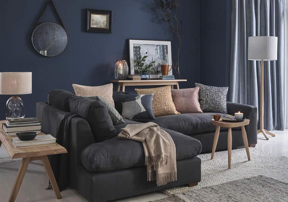 15 Gorgeous Grey And Navy Living Room Ideas To Inspire You Aspect Wall Art