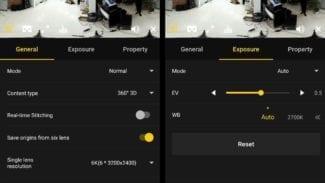 Die Smartphoneapp der Insta360 Pro bietet umfangreiche Einstellungsmöglichkeiten