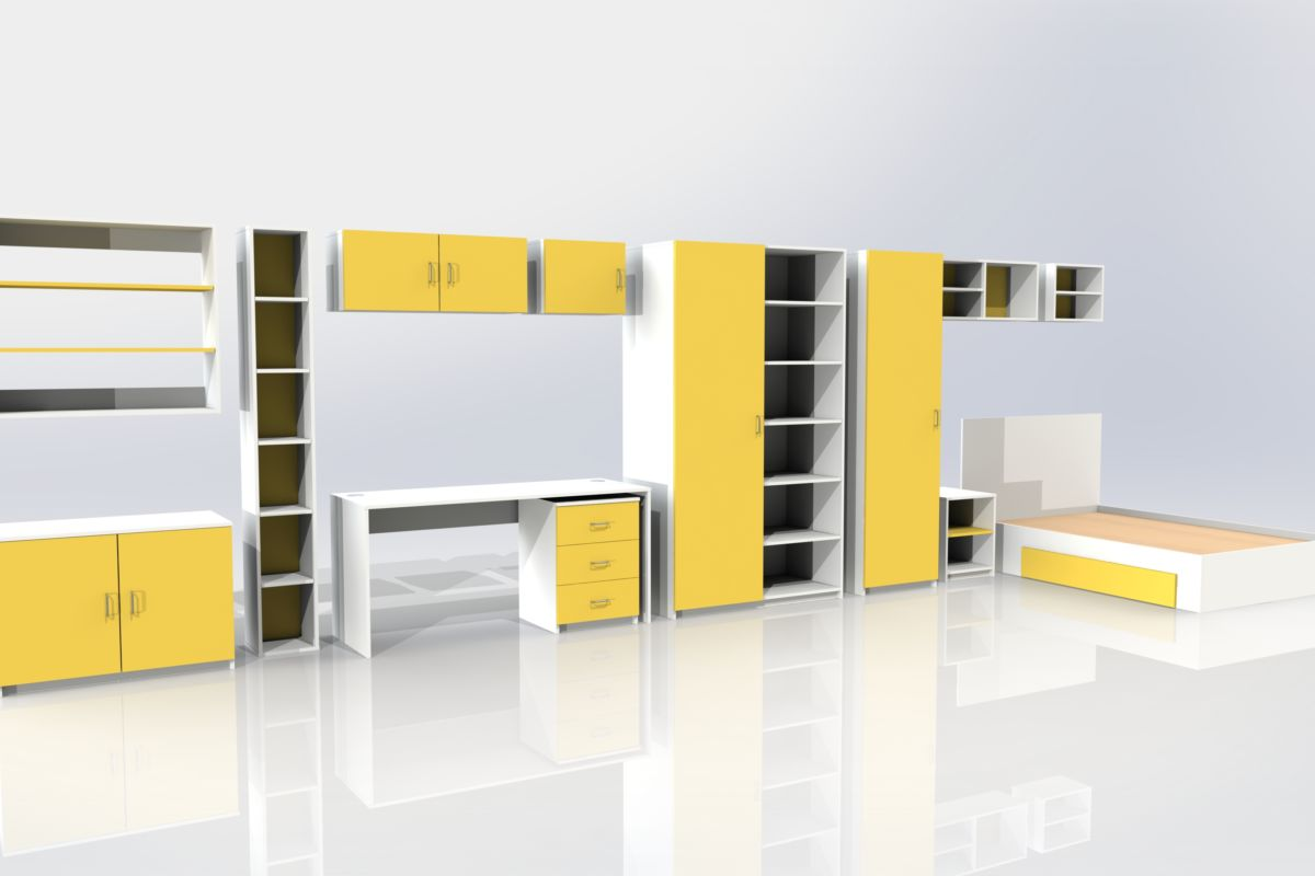 Student Furniture 3D Render Yellow Aspen Concepts