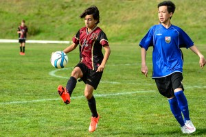Santiago, from Mexico City, representing Aspengrove in a Junior Soccer tournament.
