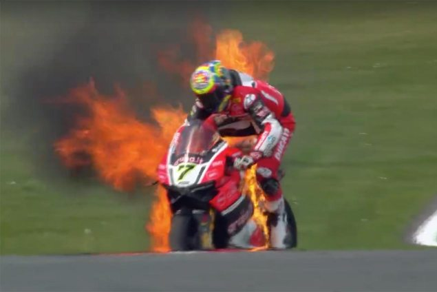 chaz-davies-fire-ducati-panigale-r-world-superbike-donington-park