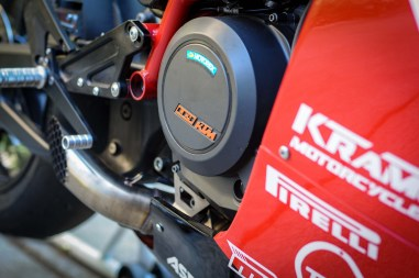KTM-powered, 693cc, four-stroke, single-cylinder...in case you didn't already know.