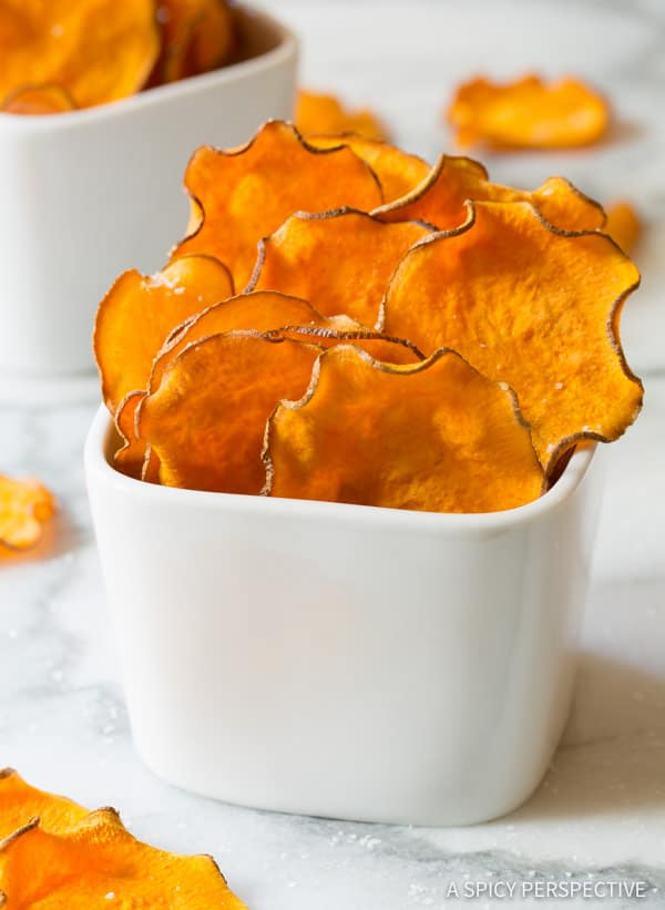 Baked Sweet Potato Chips Recipe | ASpicyPerspective.com