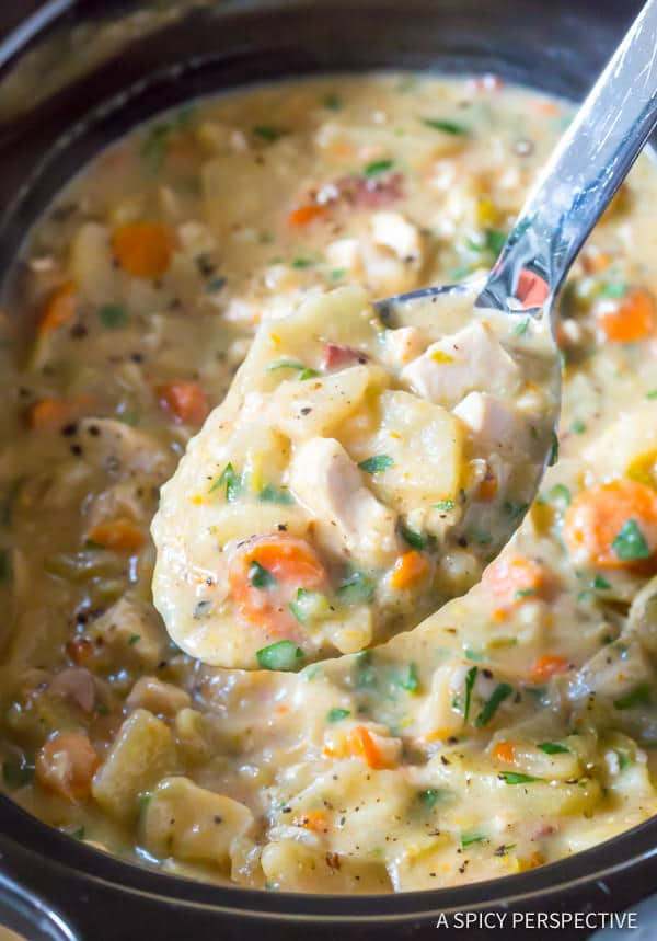 Healthy Crockpot Potato Soup With Chicken Video A Spicy Perspective