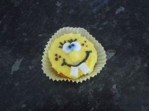 homemade spongebob cupcake