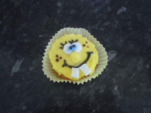 homemade spongebob cupcake